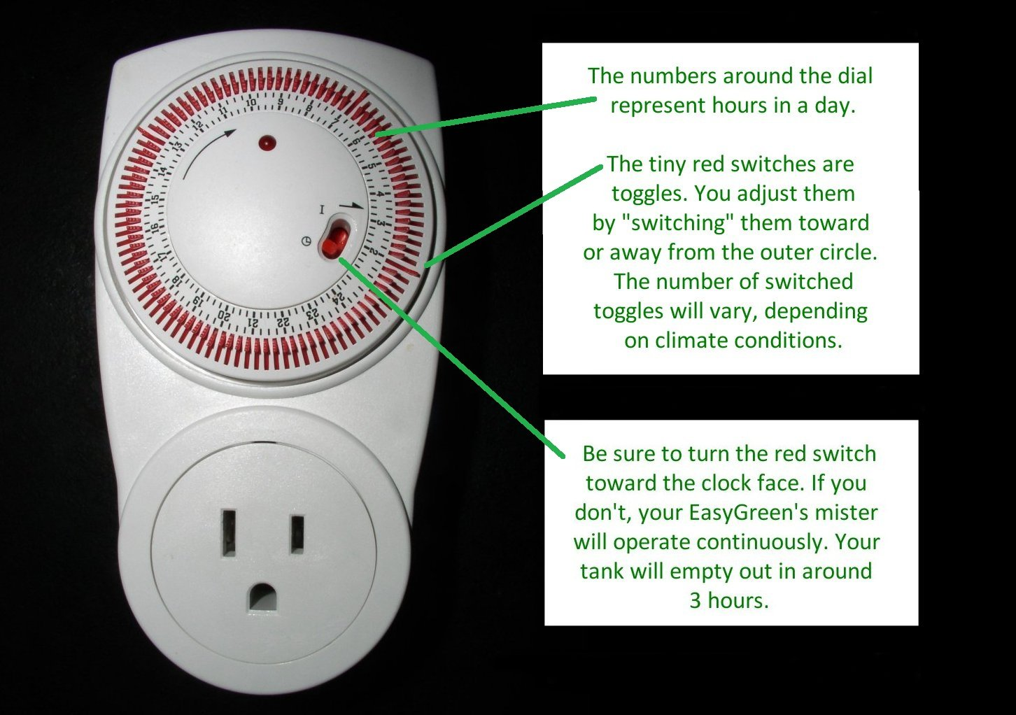 Timer with red toggles